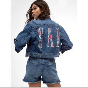 Gap 100% Cotton Patchwork Logo Denim Jacket Sz L